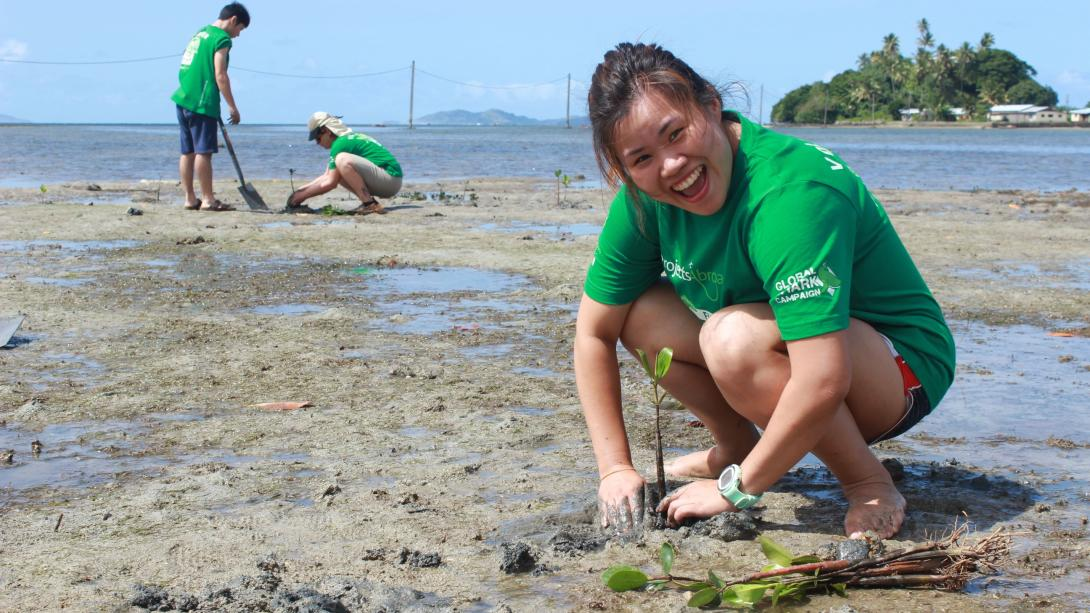 Travellers assist the Conservation volunteers with the planting of mangroves in Fiji.